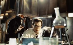 Re-Animator Director Stuart Gordon had the idea of adapting one of H. Lovecraft's novellas into a gore sci-fi film, and then Re-Animator was born. Sci Fi Horror Movies, Zombie Movies, Sci Fi Films, Horror Movie Characters, Horror Icons, Classic Horror Movies, Scary Movies, Great Movies, Slasher Movies