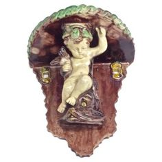 Check out this item at One Kings Lane! French Antique Majolica Cherub Bracket