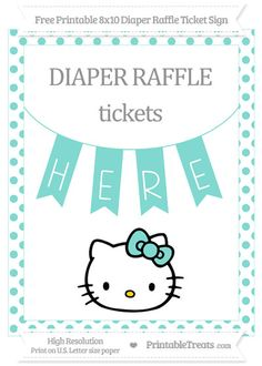 Free Tiffany Blue Dotted  Hello Kitty 8x10 Diaper Raffle Ticket Sign