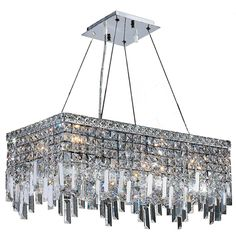 """Contemporary 6 Light Chrome Finish and Clear Crystal Icicles Chandelier Large 24"""" L x 12"""" Rectangle (6 Lights Chandelier)"""
