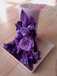 BUY Decorative candle - purple, handmade flowers, flowers of polymer clay, candles, candle Source by Homemade Candles, Diy Candles, Scented Candles, Clay Flowers, Paper Flowers, Clay Crafts, Diy And Crafts, Candle Art, Rose Candle
