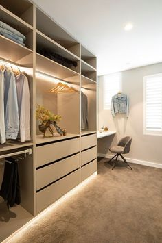 Comfortable and Suitable Wardrobe Design for Big & Small Bedroom - Bedroom storage heaven with Courtney and Hans on The Block 2018 – I love the open hanging wardrobe - Small Walk In Wardrobe, Walk In Wardrobe Design, Bedroom Closet Design, Small Closets, Walk In Robe Designs, Closet Designs, Hanging Wardrobe Storage, Bedroom Storage, Closet Walk-in