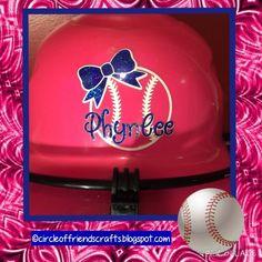 Photo on Circle of Friends Crafts: Personalized Softball Helmet Baseball Helmet Decals, Softball Helmet, Softball Crafts, Girls Softball, No Crying In Baseball, Baseball Mom, Sports Decals, Softball Equipment, Friend Crafts