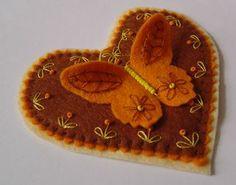 felt butterfly on a heart