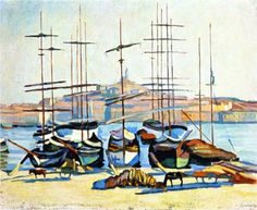 Albert Marquet (1875  - 1947) | Fauvism | The Port of Marseliles - 1904