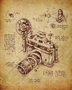 Macedonian artist Enkel Dika has killer illustrations for creative inspirations. We chose our favorite—LEONARDO DA VINCI'S CAMERA, of course. See more of the artist's work right here. Hope you discovered something new with us today! Camera Drawing, Camera Art, Illustrations Techniques, Technical Illustrations, Framed Art Prints, Canvas Prints, Patent Drawing, Patent Prints, Technical Drawing