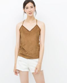 FAUX SUEDE CAMISOLE