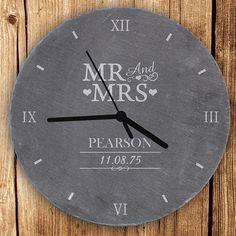 Customized Mr & Mrs Slate Clock