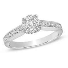 1/2 CT. T.W. Composite Diamond Engagement Ring in 14K White Gold - Zales