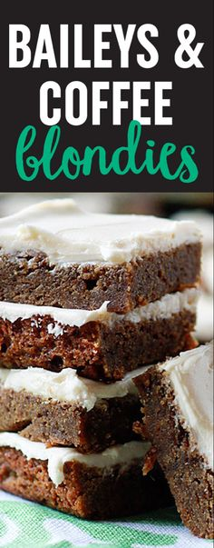 Here's your St. Baileys & Coffee Blondies, a decadent take on Baileys and coffee. Espresso flavors the rich, caramel-y base; Irish Cream spiked buttercream frosting takes them over the top. Irish Desserts, Just Desserts, Dessert Recipes, Brownie Recipes, Delicious Desserts, Coffee Dessert, Coffee Cake, Baileys Recipes, Baileys Drinks