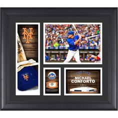 "Michael Conforto New York Mets Fanatics Authentic Framed 15"" x 17"" Player Collage with a Piece of Game-Used Ball - $63.99"