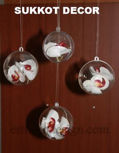 This is a great way to add a hanging decoration to your succah décor, yet keeping a nice open, airy look. Additionally, this would make a wonderful gift, presented in a pretty box. Supplies: Fillable Plastic Balls Silk Flowers Clear Thread Directions: Place flowerinpart side of the ball, close ball. Thread the fishing line through the hole on top of the ball and hang them from the schach. Grouping varying sizes together adds interest and dimension.  *For more great Sukkot ideas ...