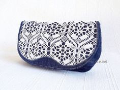 Jeans clutch bag with handmade lace front flap (Mala Mare) Tags: blue white handmade lace sewing crochet jeans fabric cotton trousers denim bluejeans handbag clutchbag upcycling