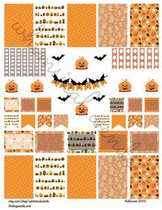 Printable Planner Stickers Kit Halloween 2015 Pumpkins & Bats - Instant…