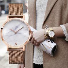 Eutour цвета розового золота ультра тонкий браслет часы женские модные часы 2017 горячие дамы Мрамор часы женские часы кварцевые Наручные часы