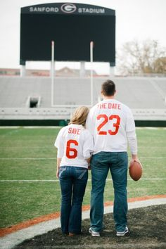 "Very cute football-themed ""save the date"" wedding pic."