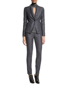 Pinstripe One-Button Jacket, Long-Sleeve Cashmere Top W/Keyhole & Mid-Rise Pinstripe Skinny Pants by TOM FORD at Neiman Marcus.
