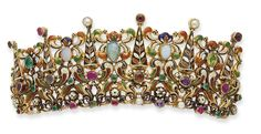 Front of a 19c Austro-Hungarian enamelled tiara set with opals, diamonds, emeralds, garnets and pearls.