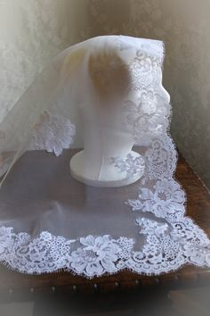 Evintage Veils~ Custom Heirloom French Alencon Lace Mantilla Chapel Veil Bridal Veil