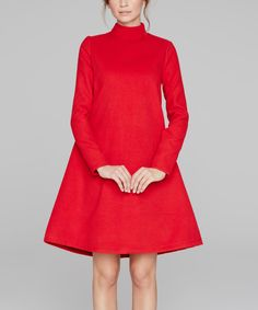 Loving this Peperuna Red Wool-Blend A-Line Dress on #zulily! #zulilyfinds
