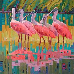 """Rosette's Retreat"" by Rene' Wiley Gallery Unenhanced Giclée ~ Any Square size Up To 40 x 40 Bird Painting Acrylic, Oil Pastel Paintings, Bird Quilt, Bird Artwork, Animal Quilts, Tropical Art, Bird Pictures, Weird Art, Wildlife Art"