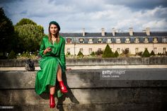 Angelica Ardasheva is seen after the Nina Ricci show at the Hotel National des Invalides during Paris Fashion Week Womenswear SS18 on September 29, 2017 in Paris, France.