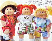 Cabbage Patch Kids Pattern, Butterick 4796, Crafts, Clothes for 16 Inch Dolls, Midriff Top, Front Button Shirt, Shorts, 1987 Uncut, 2-oz