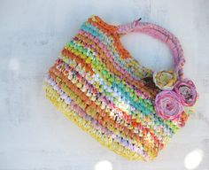 Summer Sorbet  Fabric Crocheted Rag bag  Eco friendly von odpaam