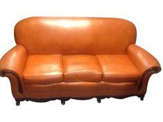 Vintage 1970s Orange Leather Sofa on Chairish.com. $360