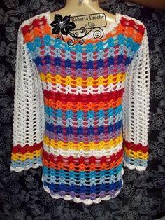 blusas de croche coloridas - Pesquisa Google