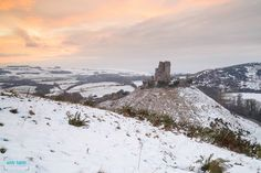 Sunset at Corfe during last weeks snow Corfe Castle, Monument Valley, England, Snow, Sunset, Travel, Beautiful, Art, Sunsets