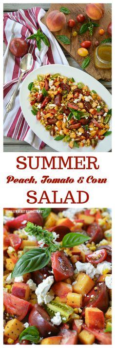 Summer Peach, Tomato and Corn Salad with Honey Vinaigrette   homeiswheretheboatis.net #recipe