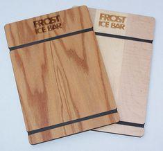 Engraved Wood Restaurant Menu Boards - Oak wood (top) and Maple wood (bottom). Woods Restaurant, Restaurant Ideas, Wood Menu, Wood Packaging, Wood Invitation, Menu Holders, Menu Boards, Custom Rubber Stamps, Restaurant Branding