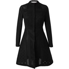 VALENTINO Crocheted Guipure Lace Coat ($2,215) ❤ liked on Polyvore featuring outerwear, coats, jackets, casacos, coats & jackets, black, long sleeve coat, crochet coat, valentino coat and lace coat