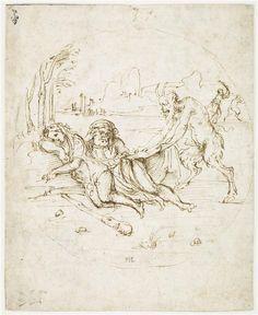 A satyr awakes sleepy Hercules near Omphale .Anonymous . 16th century Museum Conde Chantilly