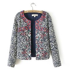 2016 New Blue And White Round Neck Jacket Embroidary Jacket Women Women Embroidery Slim Jacket SizeS -- Click image for more details. (Note:Amazon affiliate link)