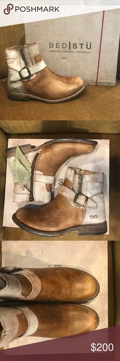 Bed Stu Becca Bootie BRAND-SPANKIN'-NEW in box! Bed Stu Caramel Nectar Lux booties! So cute and comfy! Size 7. NEVER WORN! Bed Stu Shoes Ankle Boots & Booties