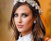 Bridal Hair Piece. Wedding Flower Crown. Ivory floral accessory. white flower headband. pearl hair accessory