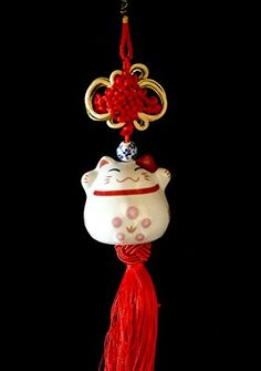 Feng Shui Lucky Cat Charm hanging  with betterdecor gift bag -- You can find more details by visiting the image link.