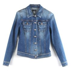 Armani Jeans Womens Blue Two Pocket Denim Button Up Jacket ($370) ❤ liked on Polyvore