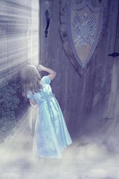 Painting of little girl in blue dress peeking behind huge wooden door with coat of armor on it. Look at what God has in store for you!. Please also visit www.JustForYouPropheticArt.com for more colorful Prophetic Art you might like to pin or purchase. Thanks for looking! #propheticart