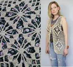 Vintage 70s Ivory Cream Open Knit Crocheted by starlingdarlin