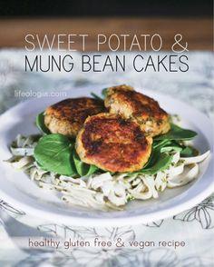 Pure Ella : sweet potato mung bean cakes : gluten free and vegan Vegan Vegetarian, Vegetarian Recipes, Cooking Recipes, Healthy Recipes, Veggie Recipes, Mung Bean Cake Recipe, Chia Recipe, Sans Gluten Vegan, Bean Cakes