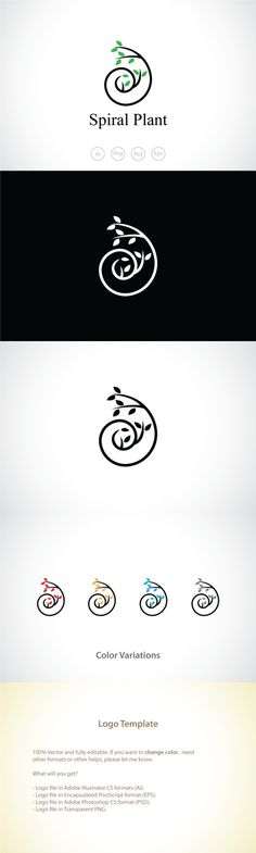 Spiral Plant Logo Template