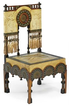 CARLO BUGATTI (1856-1940)  CHAIR, circa 1902, walnut, copper, pewter, ebony, and painted vellum, 36¼ in. (92 cm.) high; 18 in. (46 cm.) wide; 18 in. (46 cm.) deep   |  SOLD $40,875 Christie's London, Oct. 27, 2009