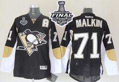 Penguins #71 Evgeni Malkin Black 2017 Stanley Cup Final Patch Stitched NHL Jersey
