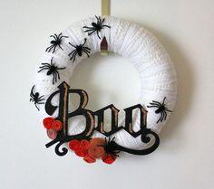 halloween black and white wreaths   Halloween Spider Wreath, Black, White, Orange, 12 inch Size, LAST ONE
