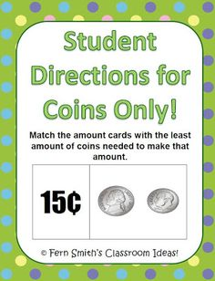 Fern's Freebie Friday ~ Counting Coins Center Game! //I think I will use my classroom coin sets with this great center!