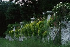 Garden Wall With Pedestal Urns At Dalemain, Ullswater