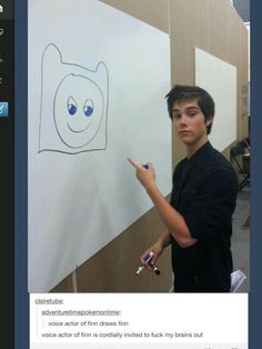 Ok I'll admit, I laughed a little too hard at this lol. Voice actor of Finn the Human, Jeremy Shada, draws Finn the Human. I finally realized why I'm do attracted to him, not only is he an awesome guy but he's like a combination  Logan Lerman and Dylan O'Brien